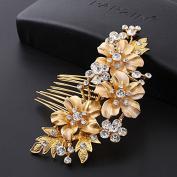 Feyarl Handmade Rhinestone Crystal Bridal Hair Side Comb, Wedding Headpiece