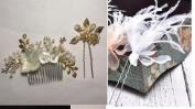 HailieBridal Pearl Rhinestone Feather Golden Leaf Bridal Headpiece Wedding Hair Accessory