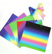 48PCS 17cm Square Handmade Rainbow Folding Papers-Colourful Flicker Hologram Paper Double Sided Origami For Kindergarten Handmade DIY Accessories