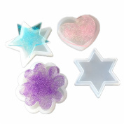 Small Love Heart,Sakura,Five-pointed Star,Hexagram Polymer Clay Silicone Mould, Crafting, Resin Epoxy, Jewellery Pendant Earrings Making, DIY Mobile Phone Decoration Tools,Semi-Transparent