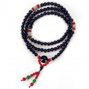 Bogo Arty 108 Obsidian Prayer Beads Bracelet Tibetan Buddhist Meditation Mala Beads Wrap Bracelet/Necklace