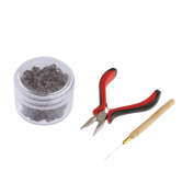 Sharplace Professional Hair Extension Tool Pliers Hook Kit + 500pcs 5mm Micro Rings Beads