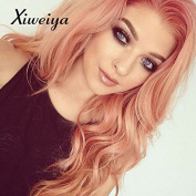 Xiweiya peach red Wigs For Women Rosie Whiteley Hairstyle Rose Gold Pastel Pink Wig Girls Synthetic Lace Front Wig With Heat Resistant .