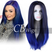 Cbwigs Ombre Blue Long Straight Synthetic Lace Front Wig for Party 2 Tone Dark Roots Natural Straight Fibre Hair Full Wigs for Women Heat Resistant 46cm T4/3500#
