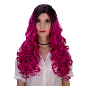 Women's Long Curly Heat Resistance Halloween Cosplay Wig with Cap 60cm