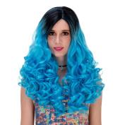 Women's Long Curly Heat Resistance Halloween Cosplay Wig with Cap 60cm