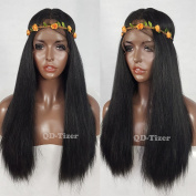 QD-Tizer Long Black Yaki Straight Hair Synthetic Lace Front Wigs Silky Yaki Straight Glueless Lace Wig 46cm