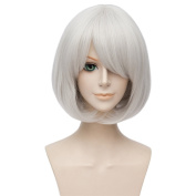 LanTing Cosplay Wig NieR:Automata 9S Silvery White Short Wigs Corta Cosplay Party Fashion Anime Human Costume Full wigs Synthetic Hair Heat Resistant Fibre
