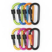 Moonli 8pcs D-ring 8cm / 3.15inches Aluminium Alloy Locking Carabiner Key Chain