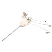 Sharplace Vintage Acrylic Flower Hair Stick Pin Chinese Japanese Women Hair Accessory - White, as described
