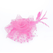 VANKER Flower Beads Feather Mesh Fascinator Hat With Hair Hoop for Wedding Party Headwear