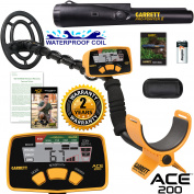 Garrett ACE 200 Metal Detector with DD Waterproof Search Coil and Pro-Pointer II