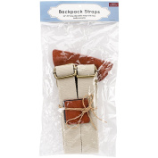 Adjustable Backpack Straps, Tan with Brass Hardware