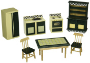 Doll-House Kitchen Furniture (Set of 7), Buttery Yellow/Deep Green..., By Melissa & Doug Ship from US