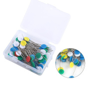 DIY Sewing Patchwork Pins, 100pcs Quilting Pins Flower Button Head Pins Knitting Needle Craft Tool with Box