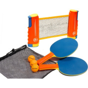 Harvil Portable and Retractable Table Tennis Net with Balls, Rackets and Bag