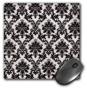 3dRose Black Dark Damask, Mouse Pad, 20cm by 20cm