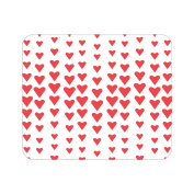 OTM Prints White Mouse Pad, Falling Hearts Red