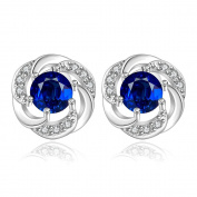 Lingduan Round Cut Blue Diamond Stud 925 Sterling Silver Flower Design Earrings