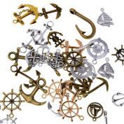 Coobbar 100 Gramme Assorted DIY Antique Anchor Charms Pendant for Jewellery Making