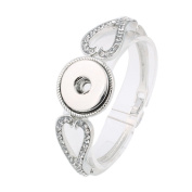 Interchangeable Snap Jewellery Snap Lock Bangle Rhinestone Hearts Medium Size by My Prime Gifts