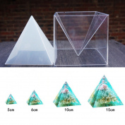 1pc Super Pyramid Silicone Mould Resin Craft Jewellery Mould + Plastic Frame