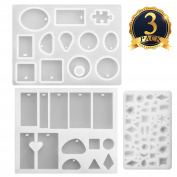 SUBANG 3 Pieces Jewellery Casting Moulds Silicone Resin Jewellery Moulds with Hanging Hole for DIY Jewellery Craft Making