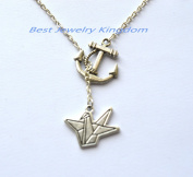 Nautical Anchor Necklace,Nautical Jewellery,Nautical Gift,Anchor Pendant,Paper Crane Necklace, Silver Origami Charm, Pendant Necklace, Good Luck Jewellery