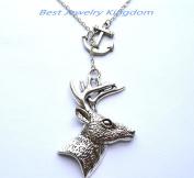 Silver Anchor Necklace,Sea Necklace,Nautical Necklace,Deer Necklace, Deer Pendant, Deer Jewellery, Bridesmaid Gift,Bridesmaid Necklace