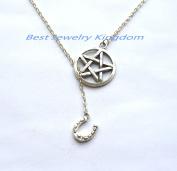Pentagram Necklace, Star Pentacle Pendant,Pentacle Jewellery,Horseshoe Necklace - Silver Horseshoe Pendant . Wedding Party Gift . Bridesmaids Necklace