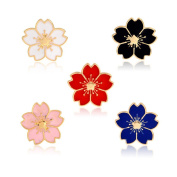 Womens Girls Brooch Set Cherry blossoms Brooch Pin Badge for Clothings Bag/Backpacks/Jackets, 5 Pieces