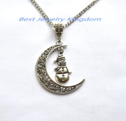 Silver Moon Charm Necklace,Silver Crescent Necklace Crescent Moon Necklace,snowman necklace, snowman jewlery, christmas necklace, winter jewellery