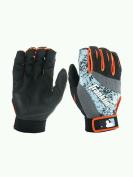 Franklin MLB 2nd-Skinz Baseball & Softball Batting Gloves (pair) Black Grey Blue Orange S