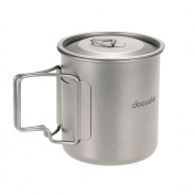 Docooler 420ml Titanium Cup With Cover Camping Mug With Lid Picnic Water Cup