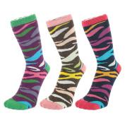 Ankle Socks With Multi Coloured Zebra Pattern (size