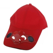 D6 Red Solar Powered Air Fan Cooled Baseball Hat Camping Travelling