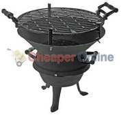 35cm Diameter Cast Iron Bbq With Wooden Grill Handles For Outdoors And Gardens