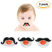 3Pcs Moustache Pacifier for Baby, KOMIWOO Funny Gentleman Moustache Lip Pacifier Cute Novelty Baby Stuff for Newborn Infant, BPA Free Latex Free Made with Soft Silicone - Great Baby Shower Gift!