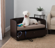 Paw and Purrs Pet Bed with Storage Drawer - Espresso / Sand