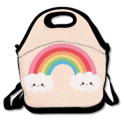 Clouds Rainbow Lunch Bag Box Travel Outdoor Picnic Lunchboxes Lunch Tote Handbag For Kids And Adults