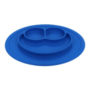 QXT Kid's Plate - Silicone Food Tray - Placemat Plate, Dinner Mat for Baby and Toddlers Bule