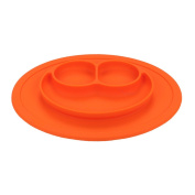 QXT Kid's Plate - Silicone Food Tray - Placemat Plate, Dinner Mat for Baby and Toddlers Orange