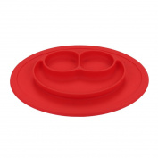 QXT Kid's Plate - Silicone Food Tray - Placemat Plate, Dinner Mat for Baby and Toddlers Red