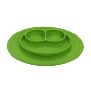 QXT Kid's Plate - Silicone Food Tray - Placemat Plate, Dinner Mat for Baby and Toddlers Green