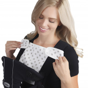 Baby Preferred Drool Bib 2-in-1 Sun Shade w/ 6 Layer Protection Burping Cloths Design - White & Grey Stars