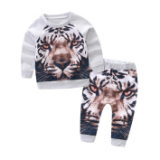 6 - 24 Months Odeer 2017 Autumn Fashion Toddler Infant Kids Baby Boy Casual Tiger T-shirt Pullover Top+Pants Outfit Cotton O-Neck Clothes Set Grey
