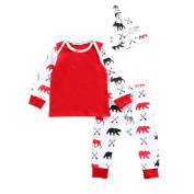 3 - 18 Months Odeer 2017 Autumn Casual Toddler Infant Baby Girl Boy Deer Bear T shirt Tops+Pants+Hat Outfit Cotton O-neck Clothes Set Red