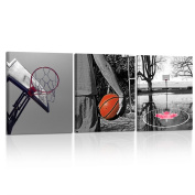Kreative Arts - Black and White Basketball Sports Themed Canvas Wall Art for Boys Room Baby Nursery Décor Kids Room Ball Boys Gift Ready to Hang Canvas Set of 3