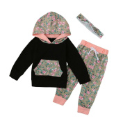 6 - 24 Months Odeer Fashion Toddler Infant Baby Girl Boy Cotton Hooded Clothes Set Floral Hooded Tops+Pants Outfits Black