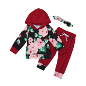 6 - 24 Months Odeer Fashion Toddler Infant Baby Girl Boy Cotton Hooded Clothes Set Floral Hooded Tops+Pants Outfits Red
